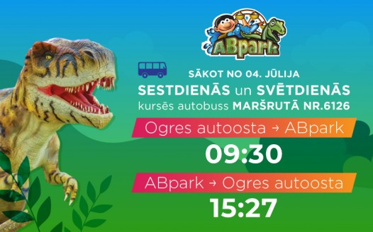 Bus timetable from Ogre to ABpark in the 2020 season
